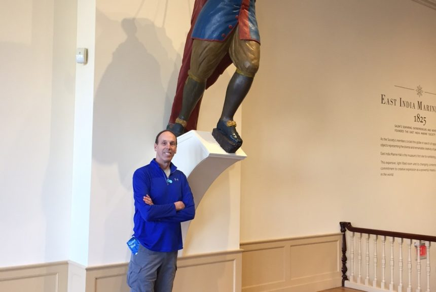 Tim standing in front of a figurehead from the Rembrandt, a ship built in Kennebunkport. In the collection of the Peabody Essex Museum in Salem, Massachusetts.
